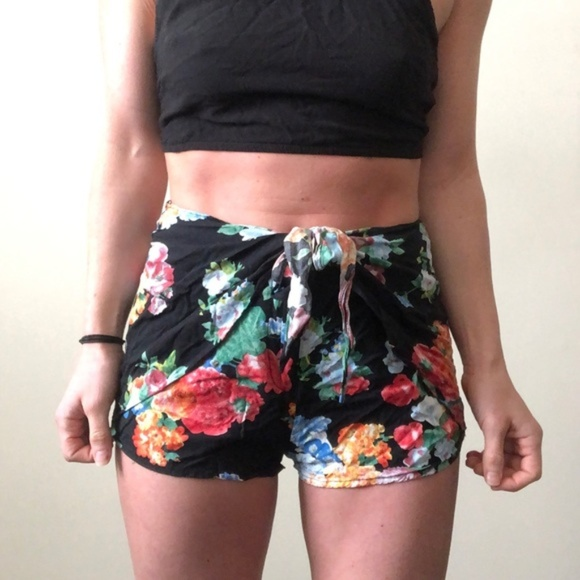 Cotton Candy Pants - Floral Shorts with Tie